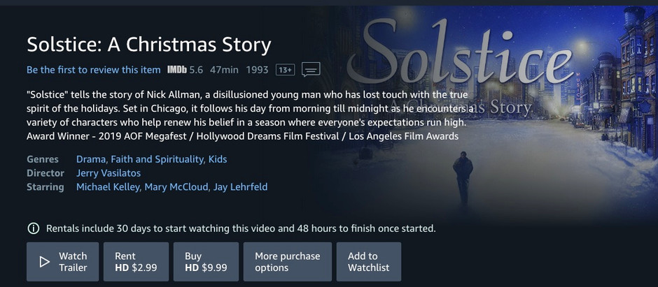 """""""Solstice"""" Now Available on Amazon Prime!"""