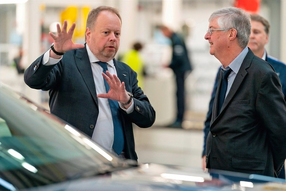 (L-R) – Aston Martin Lagonda President and Group CEO, Dr Andy Palmer, First Minister of Wales, Rt Hon Mark Drakeford AM