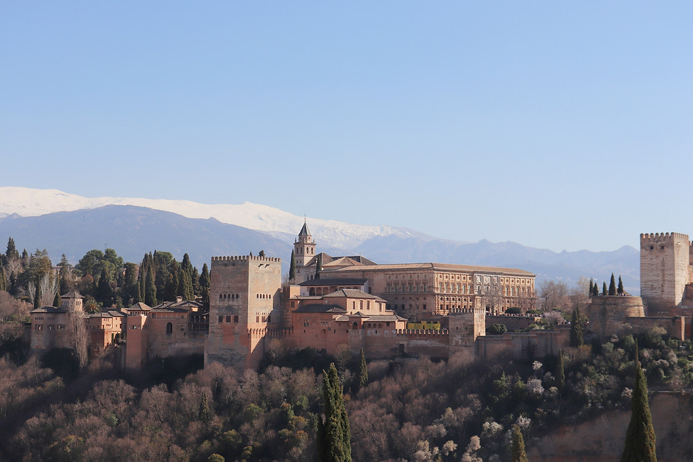 View of The Alhambra and the Sierra Nevada from a view point in Granada Spain