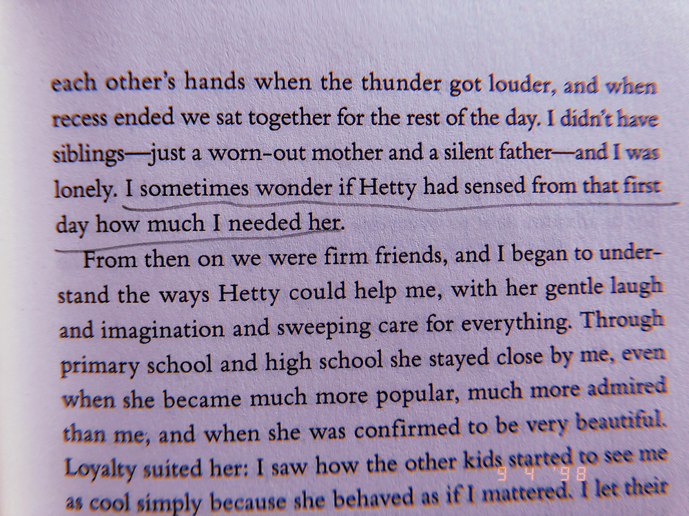 "Photo of an underlined sentence in the book. ""I sometimes wonder if Hetty had sensed from that first day how much I needed her."""
