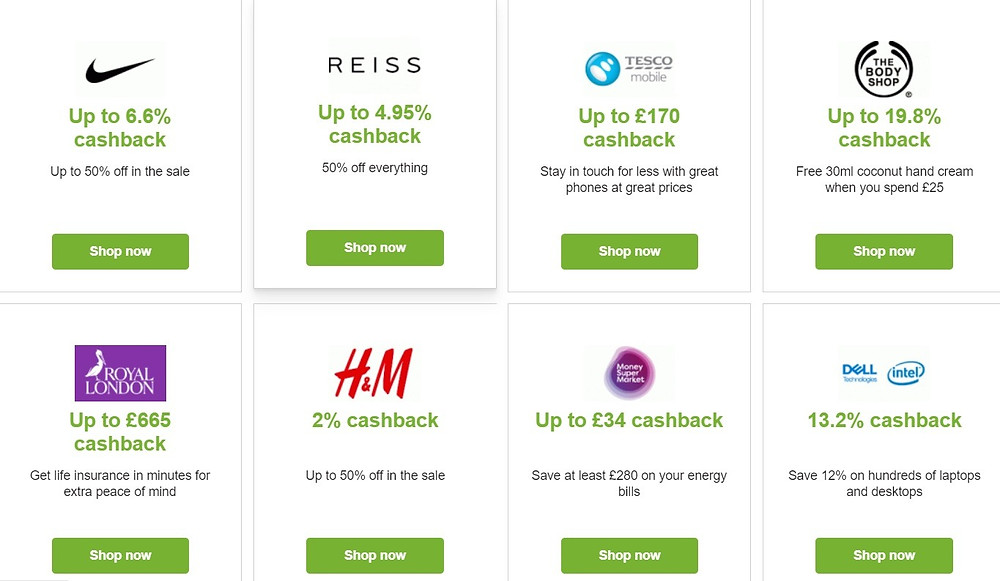 Examples of current cashback offers