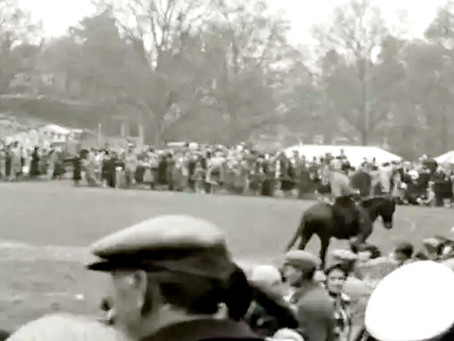 1951: Demonstration of trick riding draws the crowds at Victoria Park; guides and scouts parade