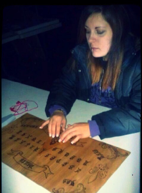 My homemade Ouija board, because freaky occult stuff floats my boat.