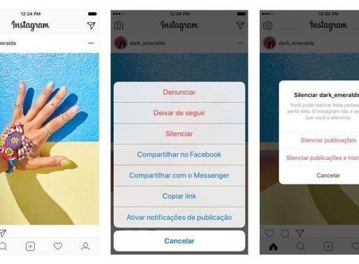 Nova ferramenta do Instagram permite silenciar perfis.