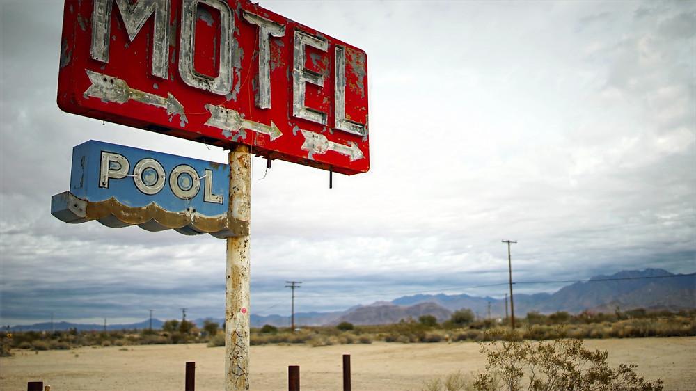 Motel sign in the desert