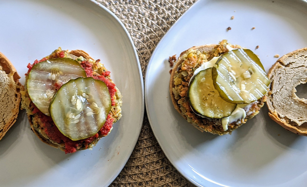 Laura's Lentil Chickpea Burger on a Greater Knead Onion Bagel