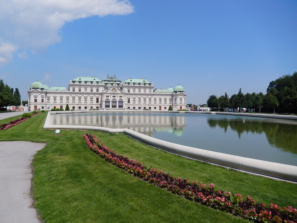 Outside Belvedere Palace from the front in Vienna Austria