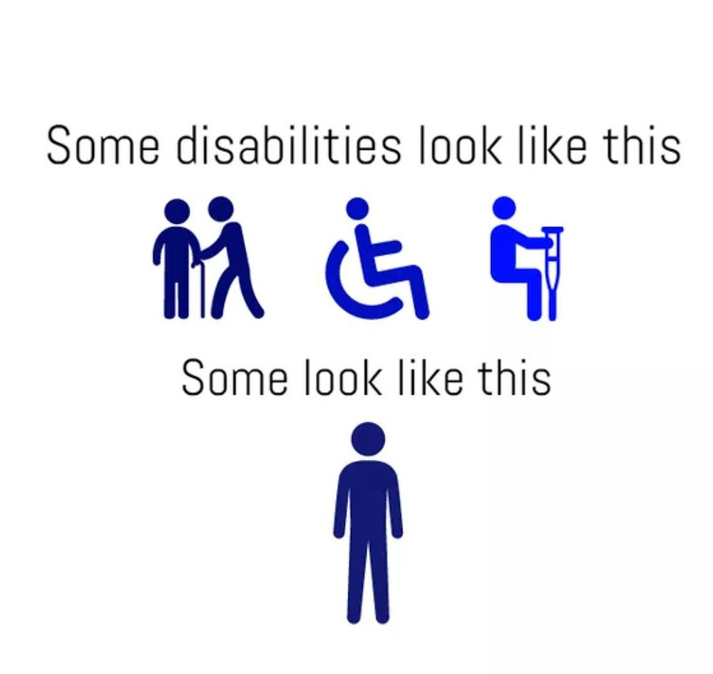 Image showing that some disabilities are visible (Wheelchair) and some are not