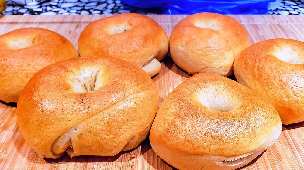 bagels baked golden