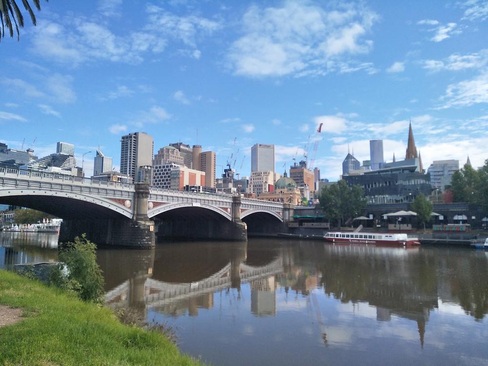Melbourne City skyline with Fed Square, Princess Bridge and Yarra River