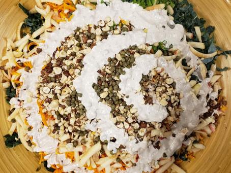 Kale Caesar Salad with Hazelnuts & Butternut squash