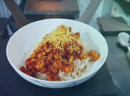 BBQ Chickpea and Tofu rice bowl