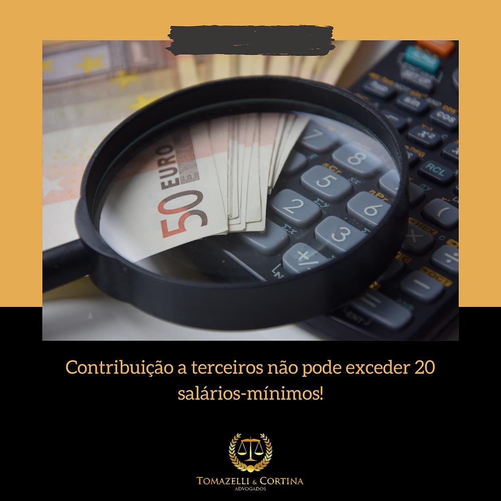contribuição destinada a terceiros limite 20 salários
