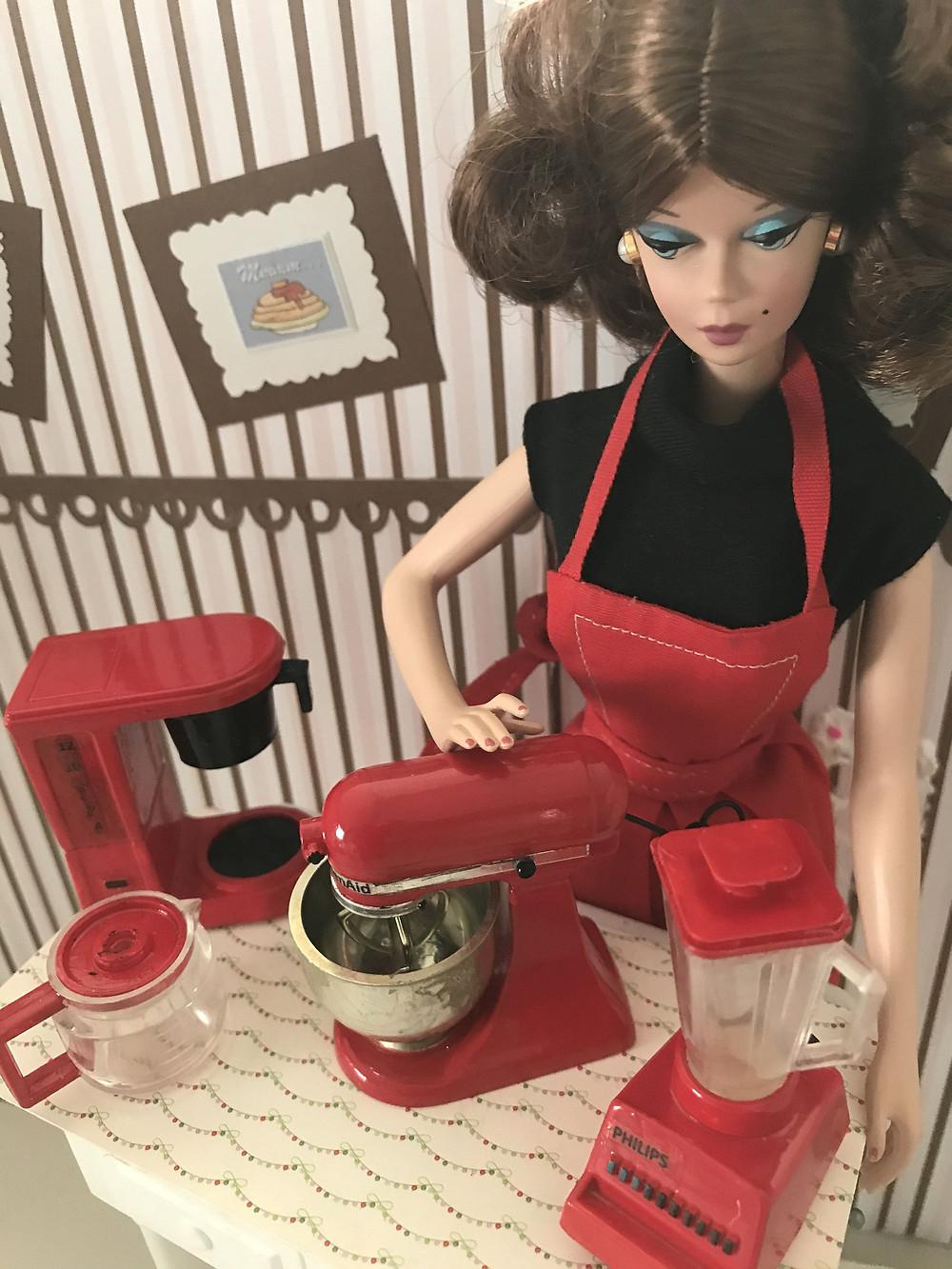 barbie baking in her kitchen