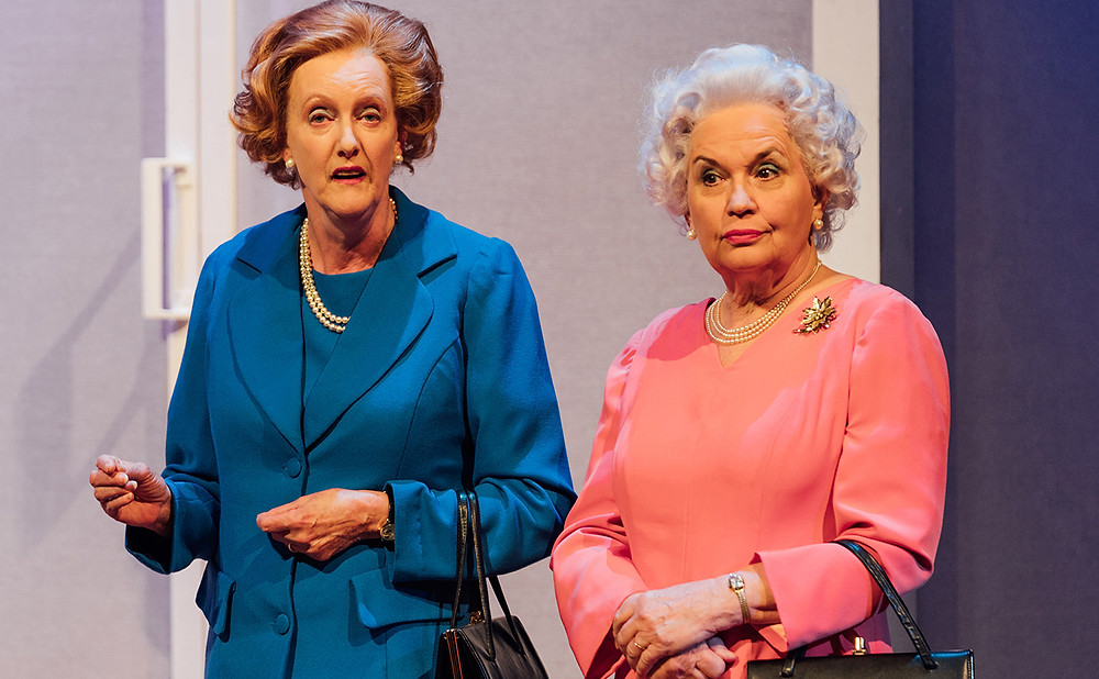 "Sarah Crowden as ""T"" and Susan Penhaligon as ""Q"" in Handbagged at Oldham Coliseum. All Pics: Helen Murray"
