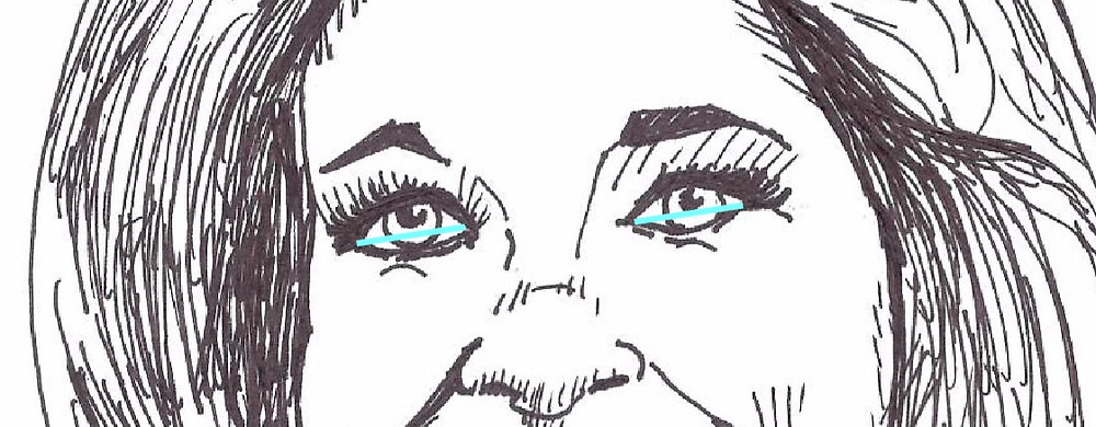 Mary Tyler Moore Illustration with line across eyes.