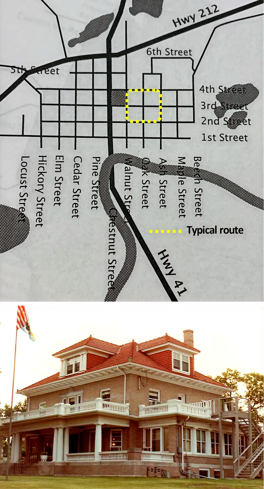 Map of wagon tour route and Klein Mansion