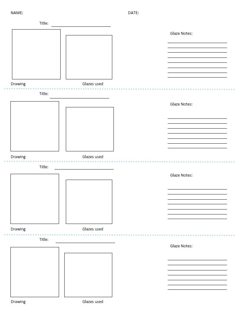 glazing chart template for notes