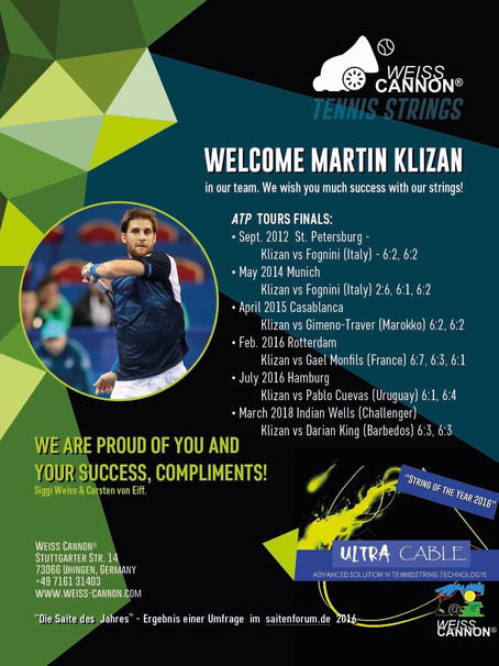 Martin Klizan is a contract player at Weiss CANNON®