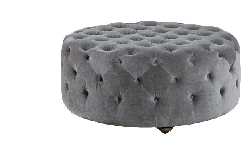 Gray Ottoman fully upholstered and accented with button tufting from Universal Furniture
