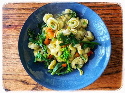 Steamed long stem Broccoli with flowers and Ravioli pasta