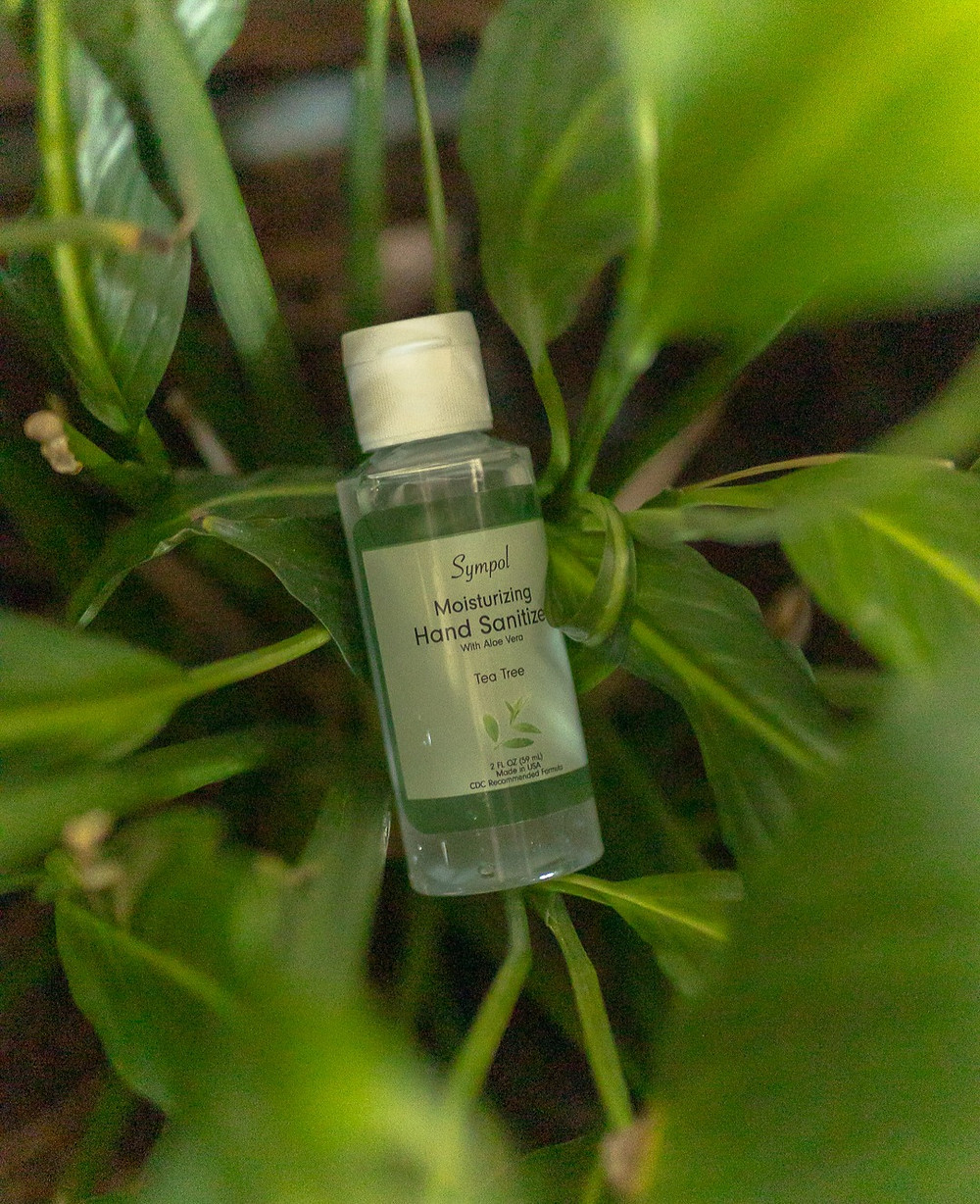 Tea Tree hand sanitizer in a plant