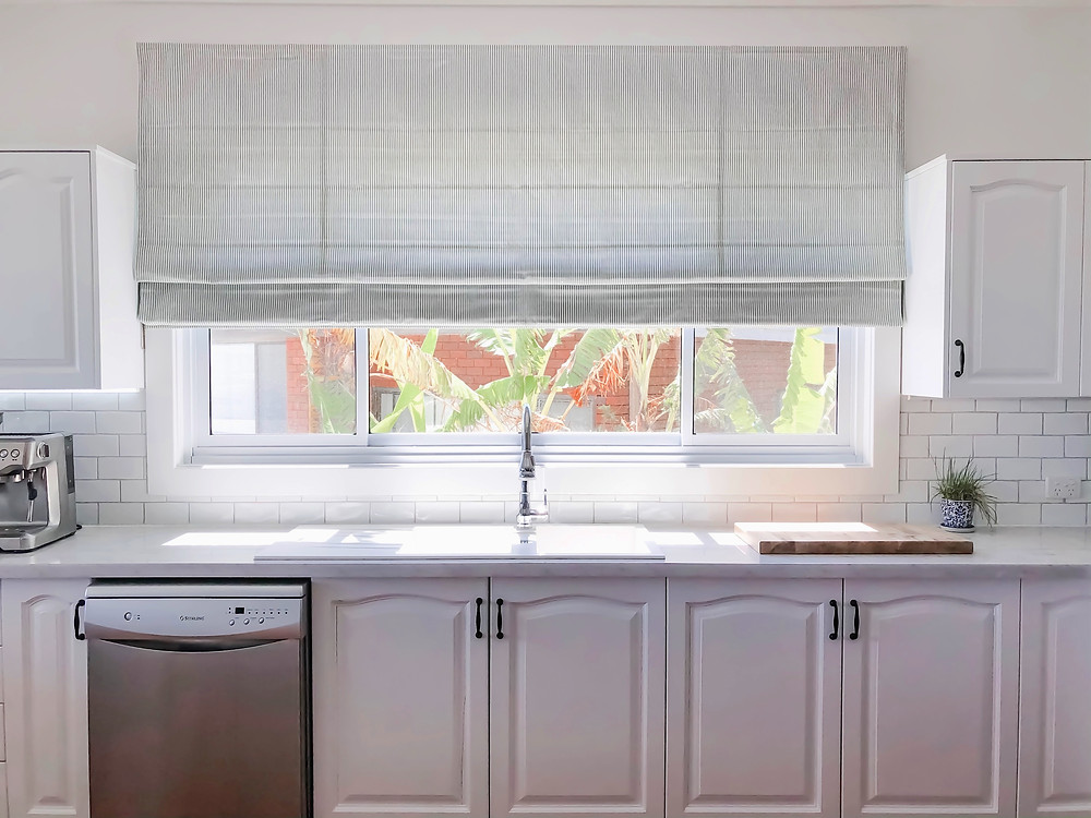 blinds online, roman blind, hamptons kitchen, white kitchen, bunnings, subway tile, classic kitchen design, budget kitchen, kitchen makeover, grey and white, kitchen design, newcastle designer, interior design, blue and white, coastal kitchen, kitchen update, marble look