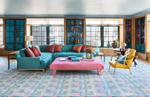 Steven Gambrel, Steven gambrel rug, rug, carpet, flooring, furniture grouping, blue couch, pink ottoman, blue and pink living, blue rug, patterned rug, geometric rug,