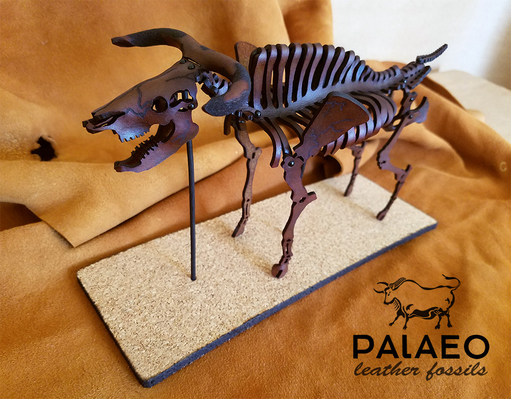 auroch, bull, prehistoric, boving, leather, skeleton, fossil, j.v. becker, leathercraft, artist, sculptor, paleo, paleoart, science, paleolithic, ancient, cow