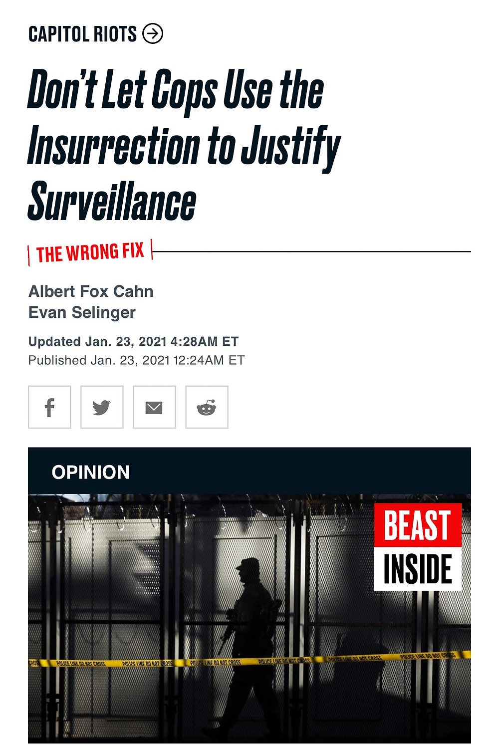 News post from Beast Inside stating 'Don't Let Cops Use the Insurrection to Justify Surveillance'.