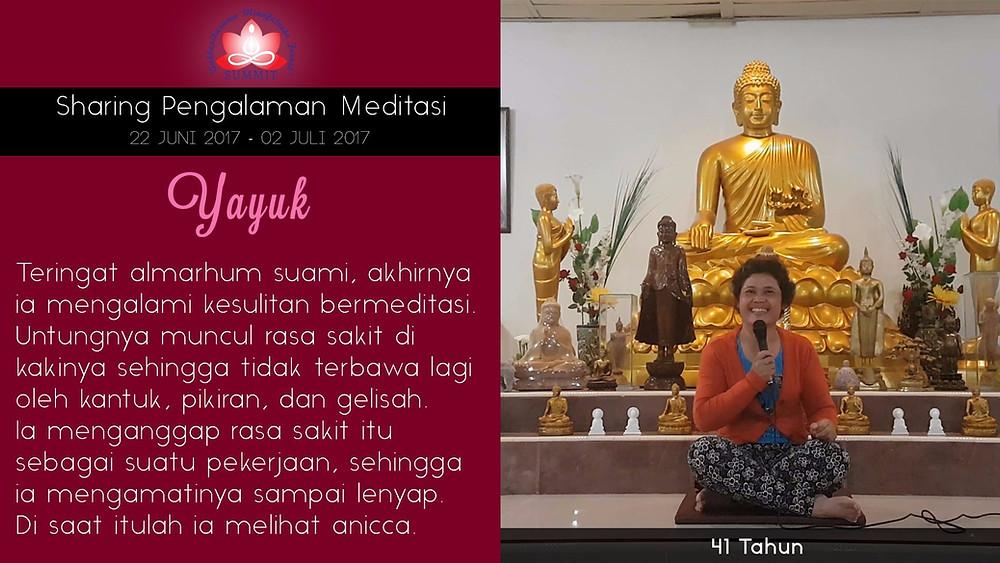 Perjuangan dalam meditasi - Sharing oleh YAYUK