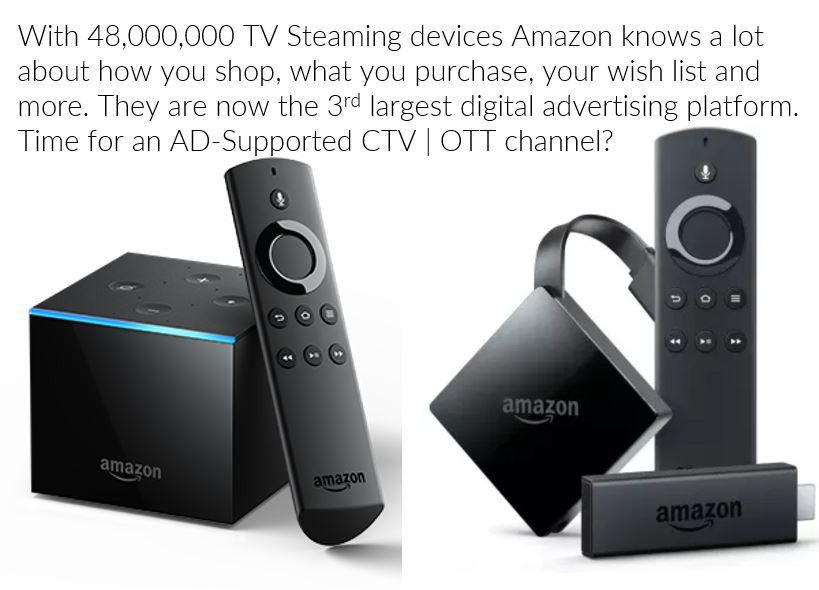 Amazon has over 48.000,000 TV Streaming devices in service. It is Time for a Free AD- Supported CTV \ OTT channel
