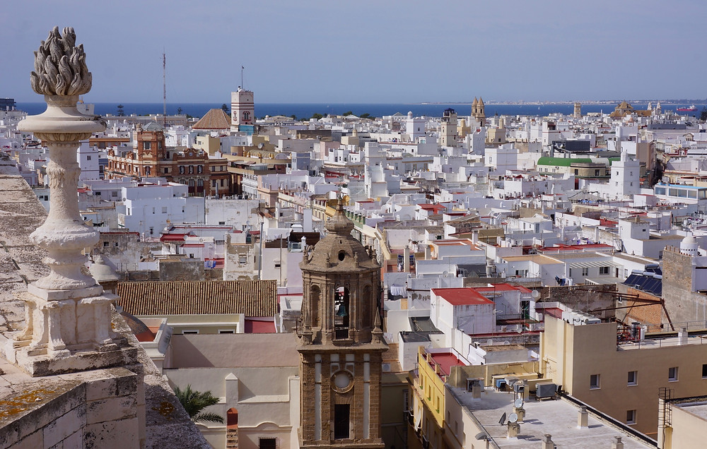 A view of Cádiz rooftops seen from the cathedral's bell tower.