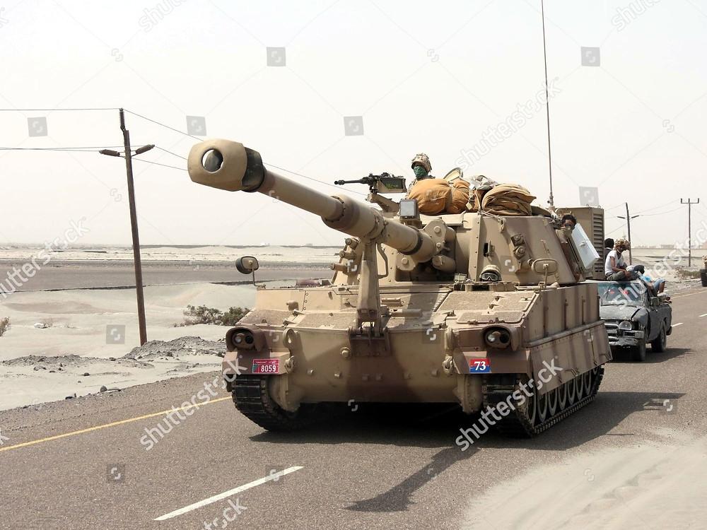 ขณะกำลังเคลื่อนพลระหว่าง สงครามกับกลุ่มกบฎฮูตี ในประเทศเยเมน เมื่อเดือนกรกฎาคม พ.ศ. 2562