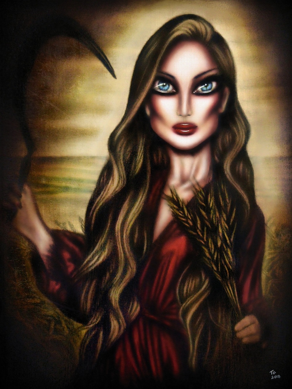 painting biblical ruth gathering wheat in a field with a red robe by tiago azevedo a lowbrow pop surrealism artist