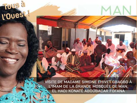 VISITE DE SIMONE EHIVET GBAGBO À L'IMAM DE LA GRANDE MOSQUÉE DE MAN, EL HADJ KONATÉ ABOUBACAR FOFANA
