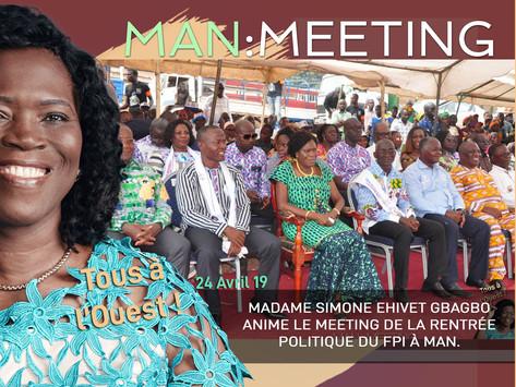 MAN : MADAME SIMONE EHIVET GBAGBO ANIME LE MEETING DE LA RENTRÉE POLITIQUE DU FPI.