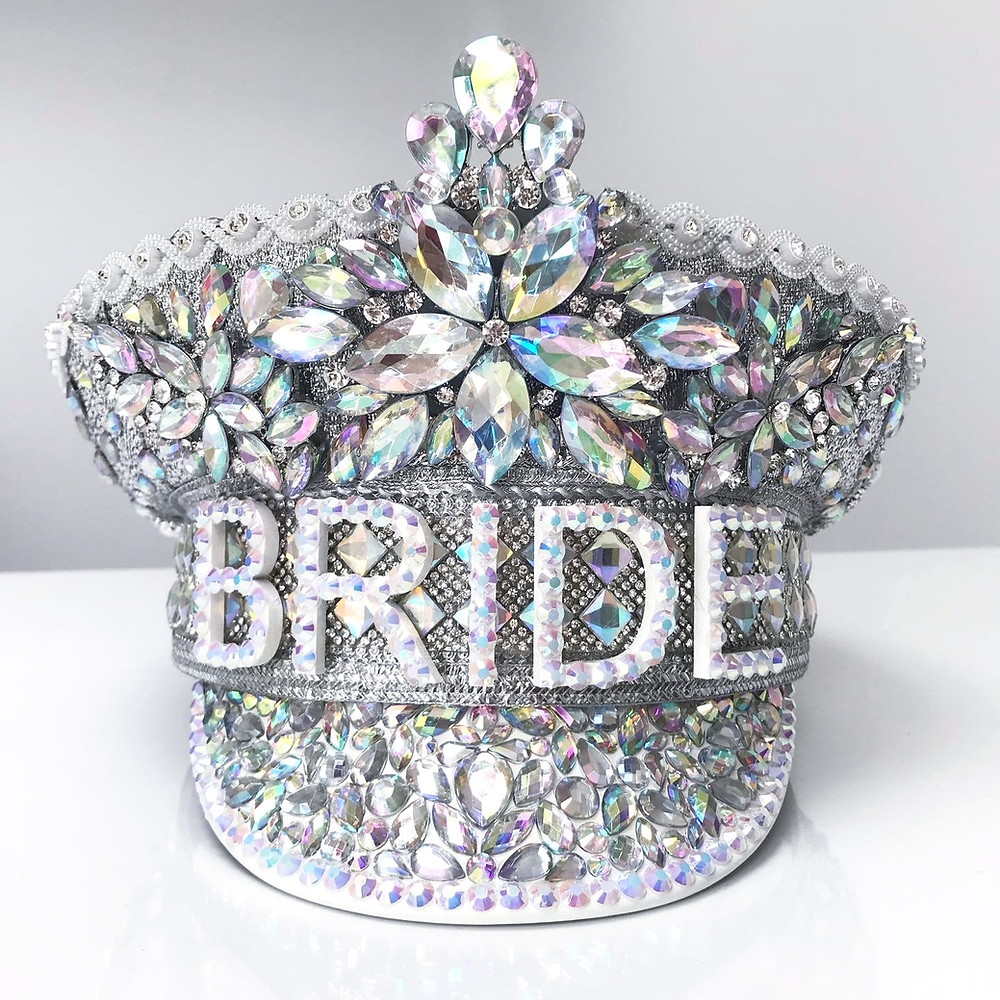 Holly Hagan Bride Hat, hen do hat, hen party hat, jewelled hat, glitter gals