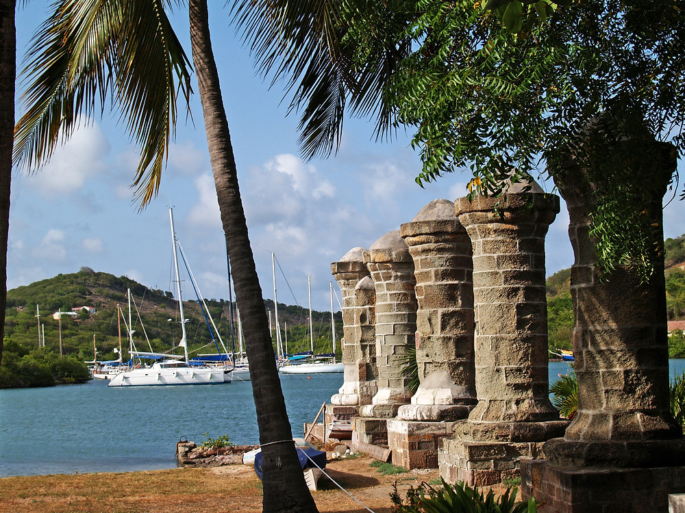 Old sail loft pillars in English Harbour inside Nelsons Dockyard National Park, on Antigua Barbuda in the Caribbean Lesser Antilles West Indies.