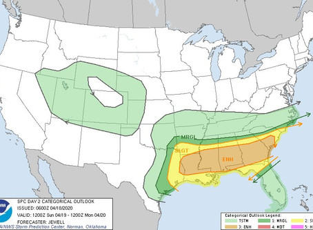 Severe Weather across the Deep South on Sunday/Monday AM, Western Carolinas to remain Unsettled.