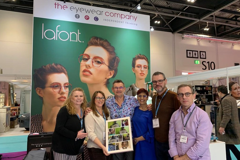Peter and Rachel Marson showing the people The Eyewear Company have helped