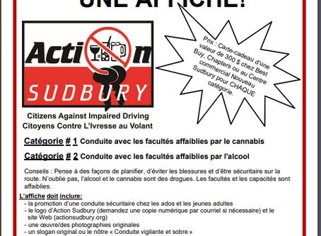 Voici l'information sur le concours d'affiches d'Action Sudbury en Français!!