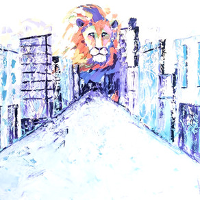 He's Not Safe, He's Good 36x48 palette knife oil on canvas - lion in lexington,ky