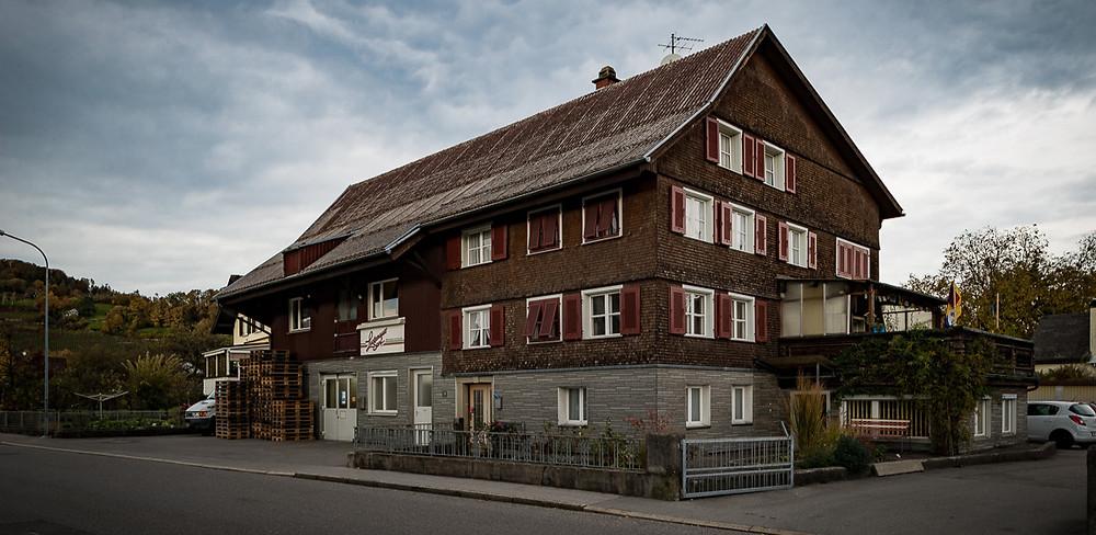 Lustenauer Senf Firmengebäue in den Rheinstraße in Lustenau