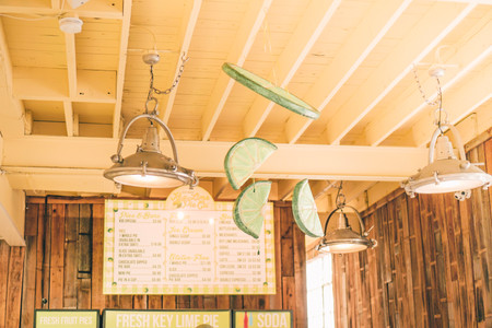The old fashioned light and lime decorations at the Key LIme Pie Company in Key West Florida