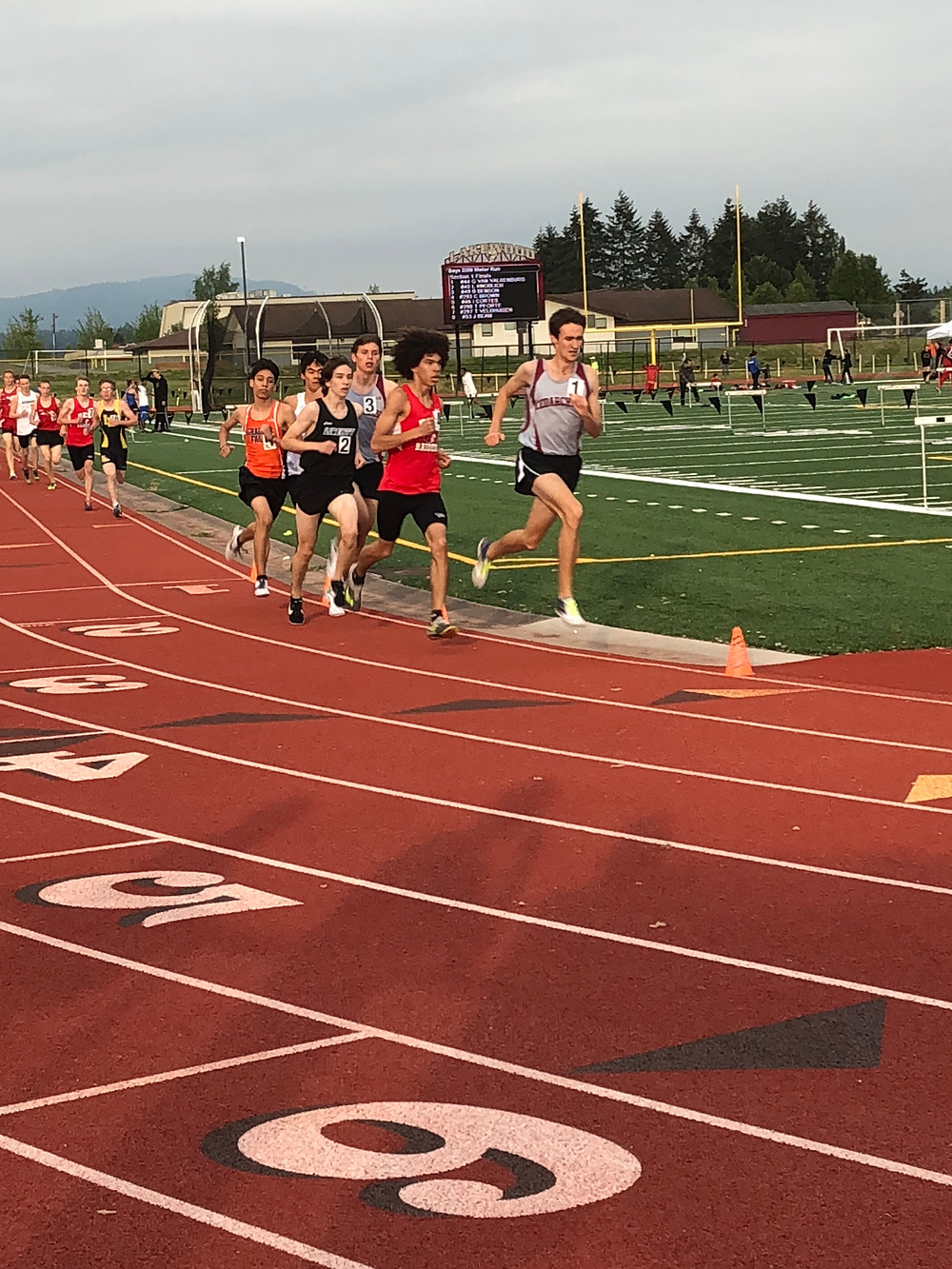 Cade Brown (red) won the 2A Boys District 3200 race running 9:18.29