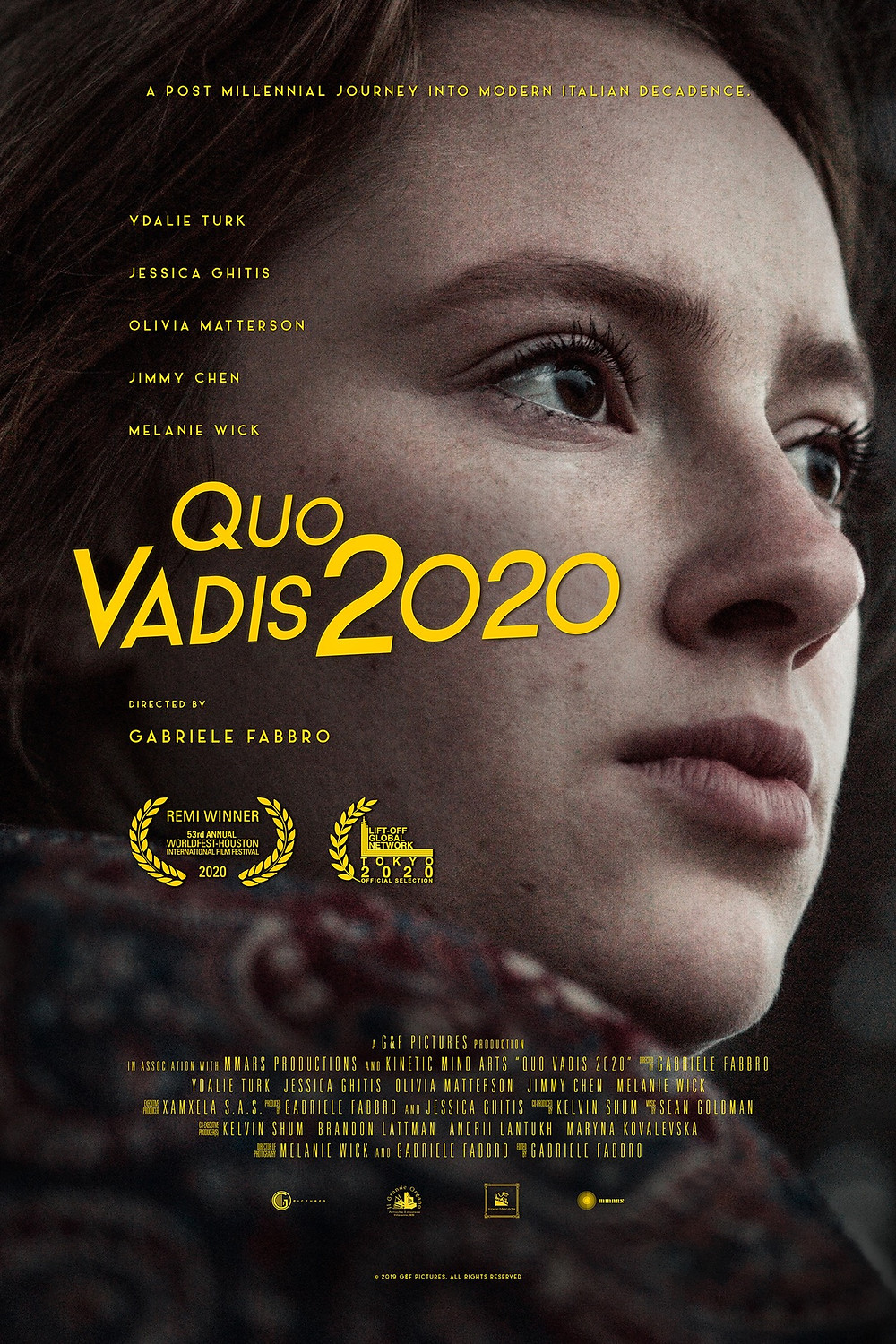 Poster of the film: side shot of the close up of an actress who looks forward. The title of the tilm is written in big, yellow letters in front of the image.