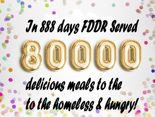 Today on day 888 FDDR served meal #80,000