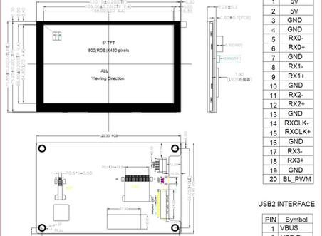 정전 터치 5인치 LVDS 지원 - 소형 모니터 제작 2U 매립