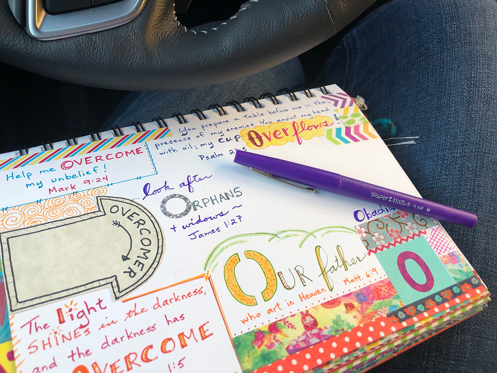 ABC Bible Quilt journaling in the car